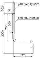 S形側面用アンテナマスト(50A)MPS-200-50TN(52)