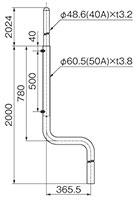 S形側面用アンテナマスト(50A)MPS-200-50TN(3655)