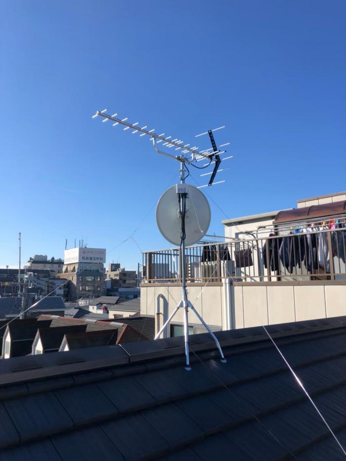 中野区中野|UHFアンテナ+BSアンテナ工事