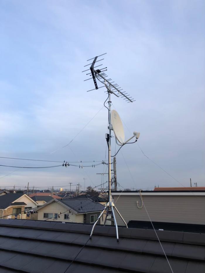 さいたま市西区指扇|UHFアンテナ+BSアンテナ工事|ウィザースホーム