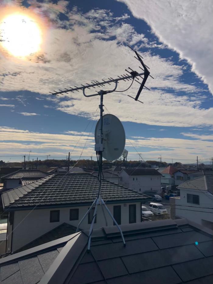 杉並区梅里|UHFアンテナ+BSCSアンテナ取付工事