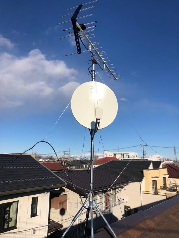 三鷹市大沢|UHFアンテナ+BSアンテナ工事|タクトホーム