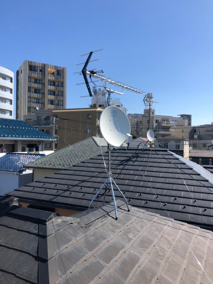北区西ケ原|UHFアンテナ+BSアンテナ工事