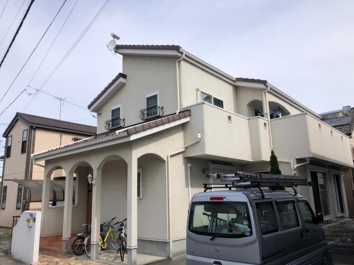 上尾市向山|デザインアンテナ+BSアンテナ工事