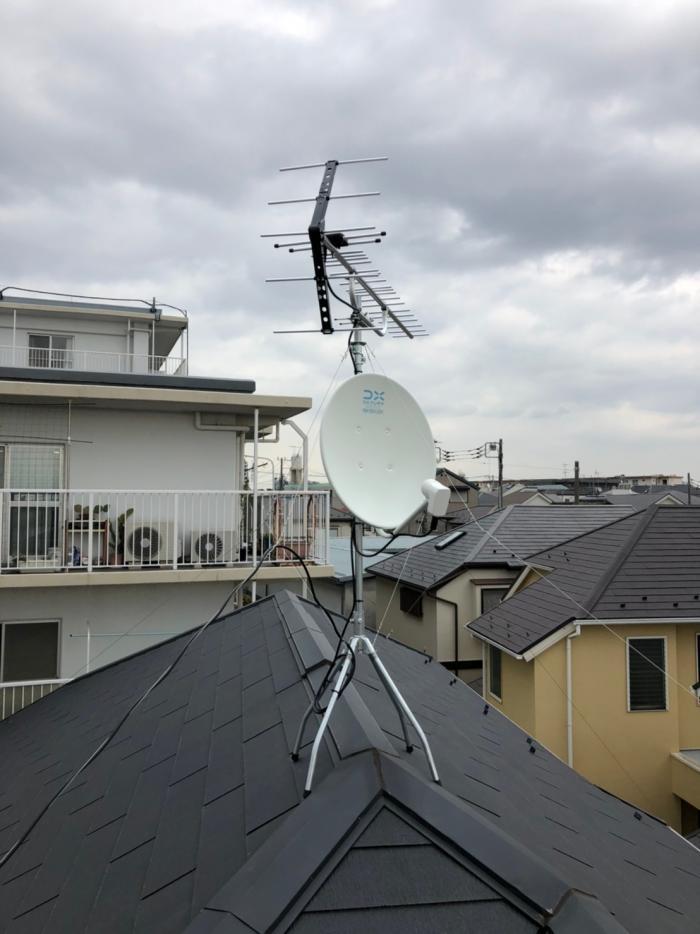西東京市泉町|UHFアンテナ+BSアンテナ工事