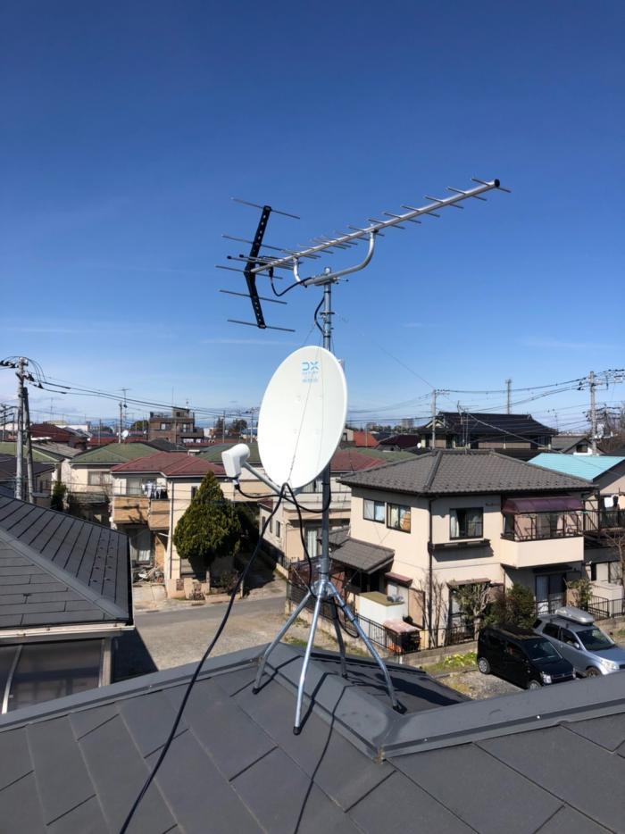 鴻巣市高見台|UHFアンテナ+BSアンテナ工事