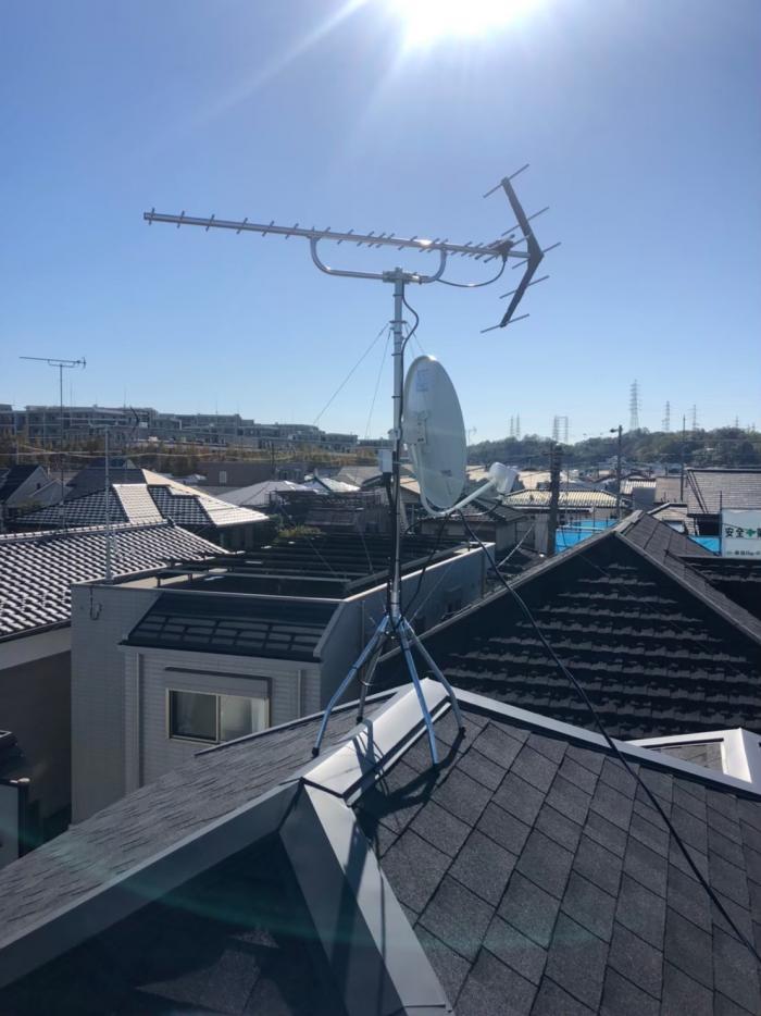 さいたま市緑区大間木|UHFアンテナ+BSアンテナ工事