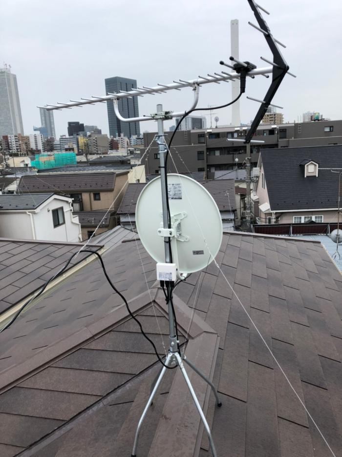 豊島区上池袋 UHFアンテナ+BSアンテナ工事