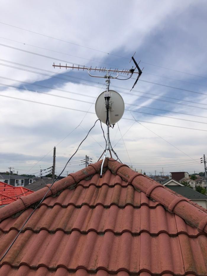 さいたま市見沼区島町|UHFアンテナ+BSアンテナ工事