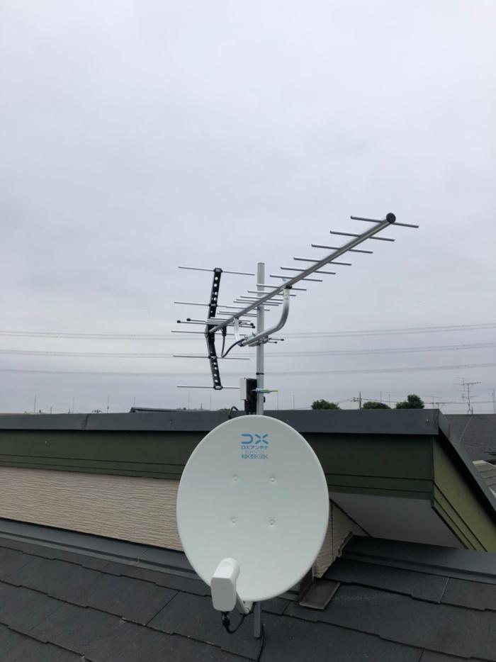 さいたま市中央区大戸|UHFアンテナ+BSアンテナ工事