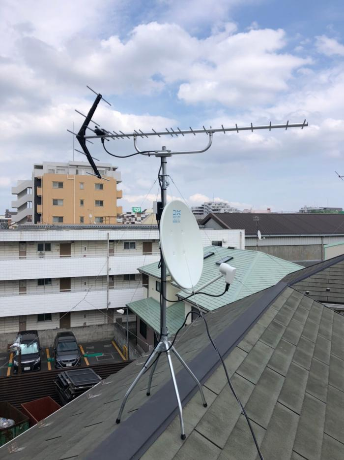 葛飾区立石|UHFアンテナ+BSアンテナ工事