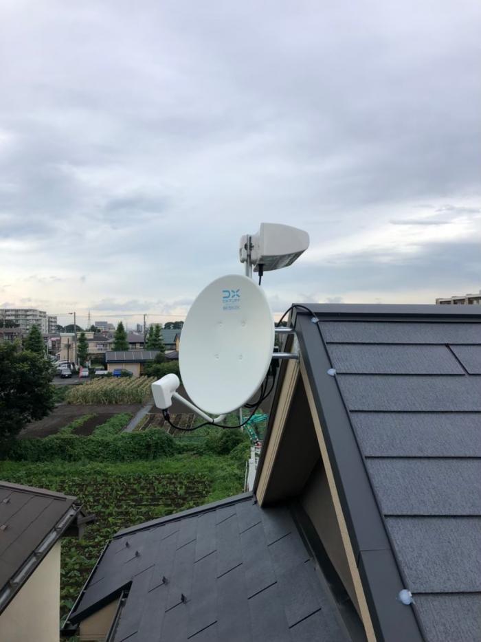 西東京市富士町|横型デザインアンテナ+BSアンテナ工事