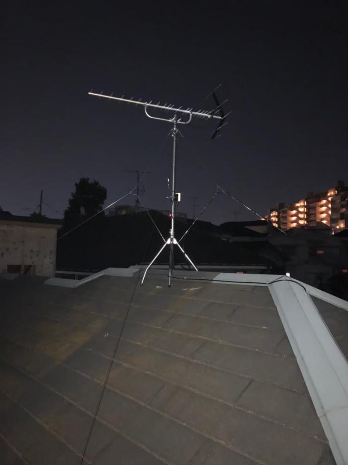 大田区山王|八木アンテナ設置+撤去、配線工事