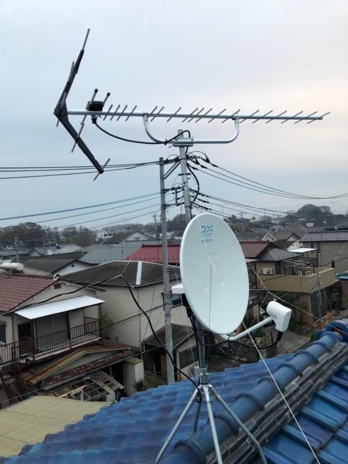 さいたま市岩槻区金重|UHFアンテナ+BSCSアンテナ工事