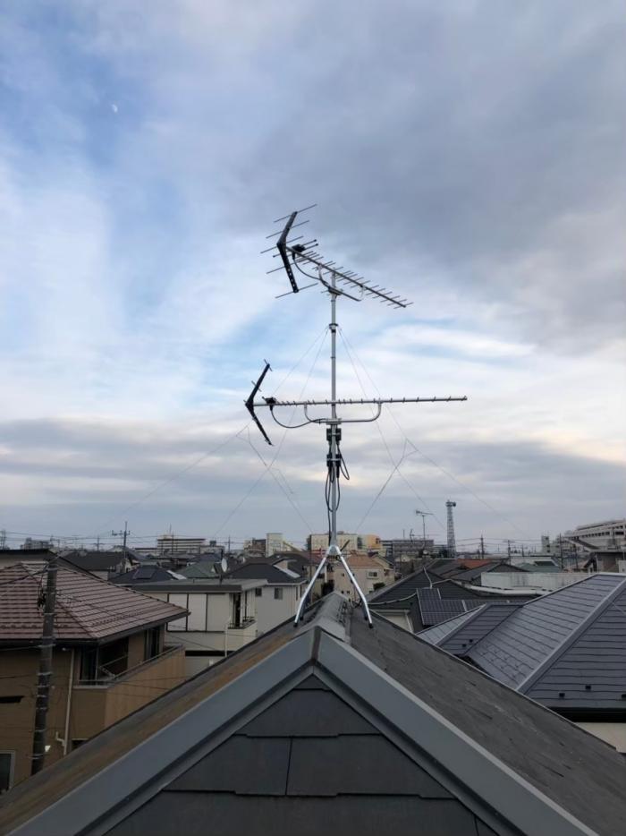 柏市旭町 UHFアンテナ+BSCSアンテナ+既設アンテナ撤去工事