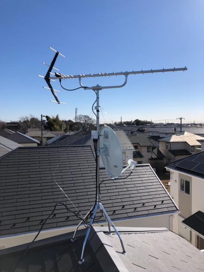 八千代市上高野|UHFアンテナ+BS/CSアンテナ工事