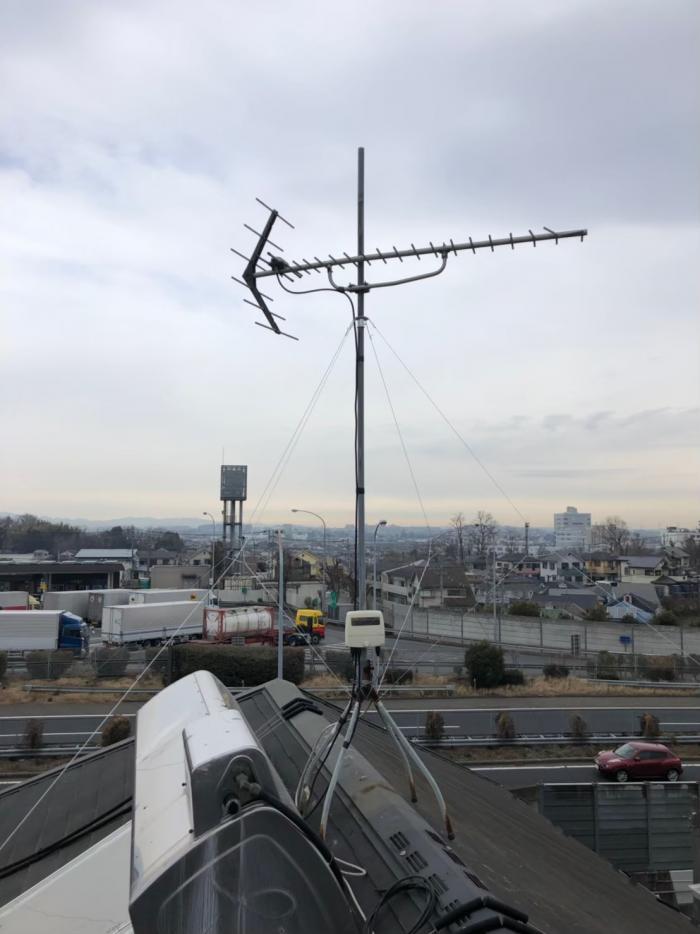 八王子市石川町|UHFアンテナ立直し+VHFアンテナ撤去工事