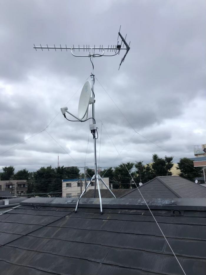 習志野市本大久保|UHFアンテナ+BS/CSアンテナ工事