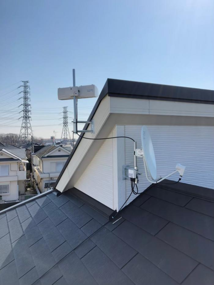 川越市武蔵野|横型デザインアンテナ+BS/CSアンテナ工事