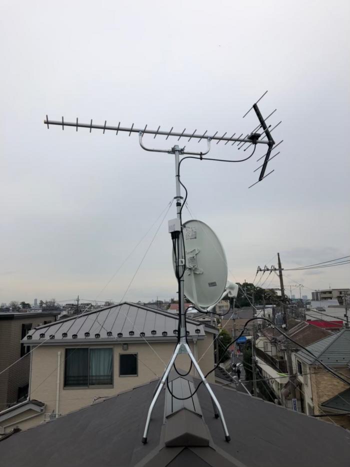 世田谷区松原|UHFアンテナ+BS/CSアンテナ工事