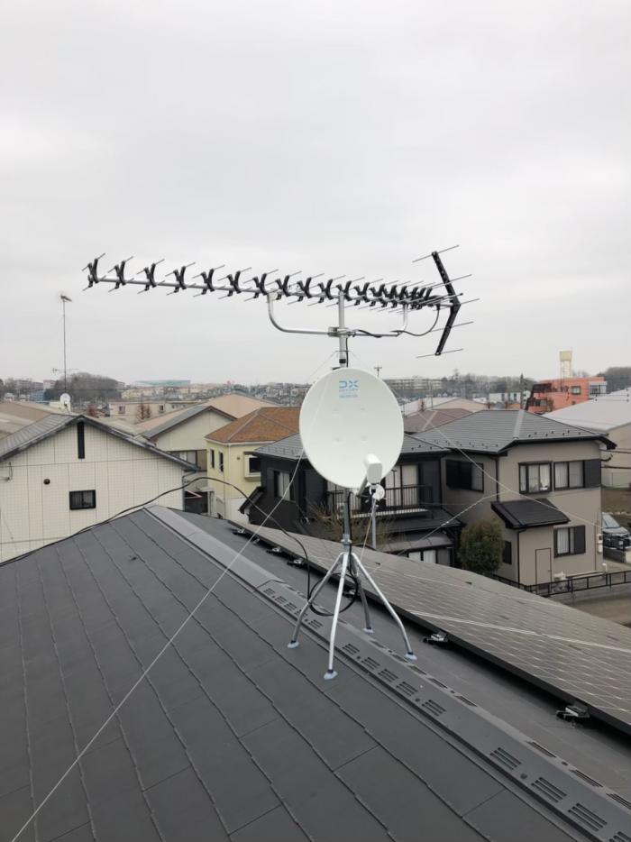 相模原市中央区田名 高性能UHFアンテナ+BS/CSアンテナ工事