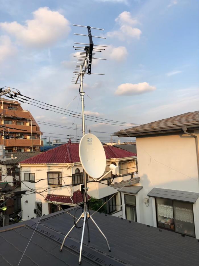朝霞市根岸台|UHFアンテナ+BS/CSアンテナ工事