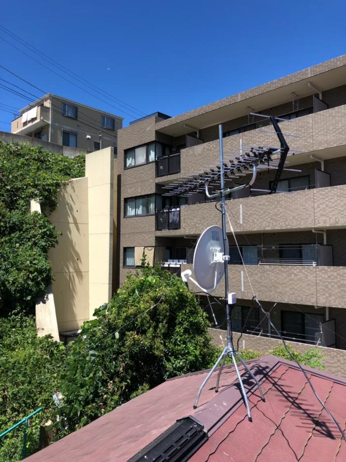 横浜市港南区大久保 高性能UHFアンテナ+BS/CSアンテナ工事