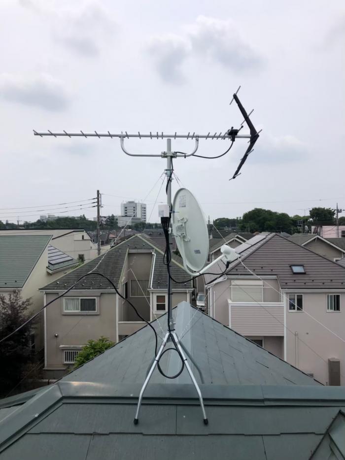 調布市若葉町|UHFアンテナ+BS/CSアンテナ工事