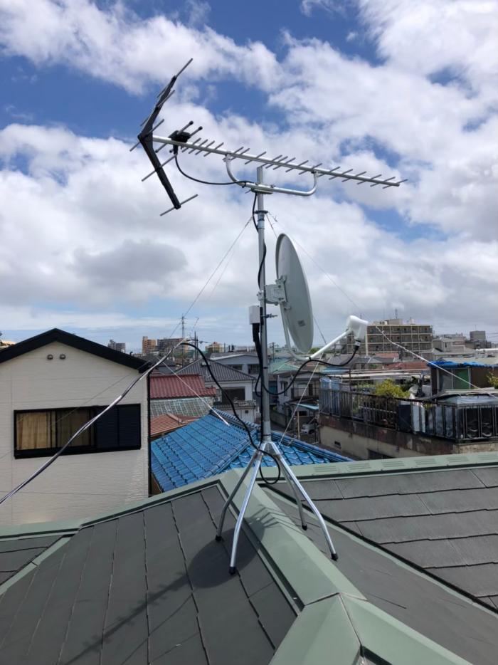 葛飾区堀切|UHFアンテナ+BS/CSアンテナ工事