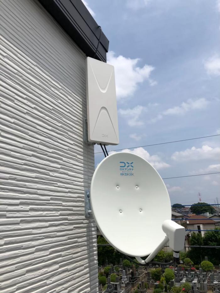 川口市坂下町 デザインアンテナ+BS/CSアンテナ工事