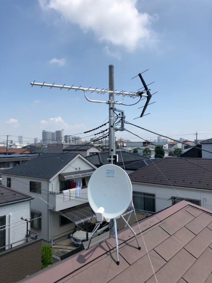 江戸川区南篠崎町|UHFアンテナ+BS/CSアンテナ工事