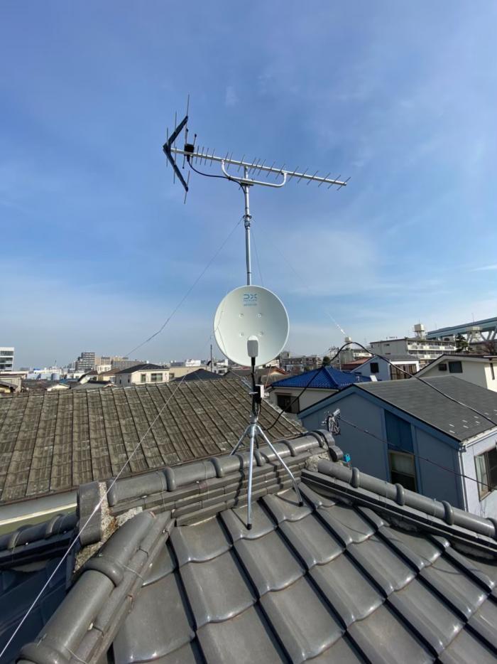 北区豊島|UHFアンテナ+BS/CSアンテナ工事