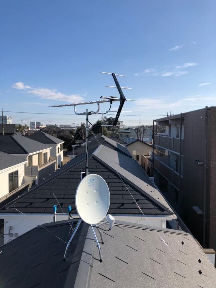 鶴ヶ島市脚折町 UHFアンテナ+BS/CSアンテナ工事