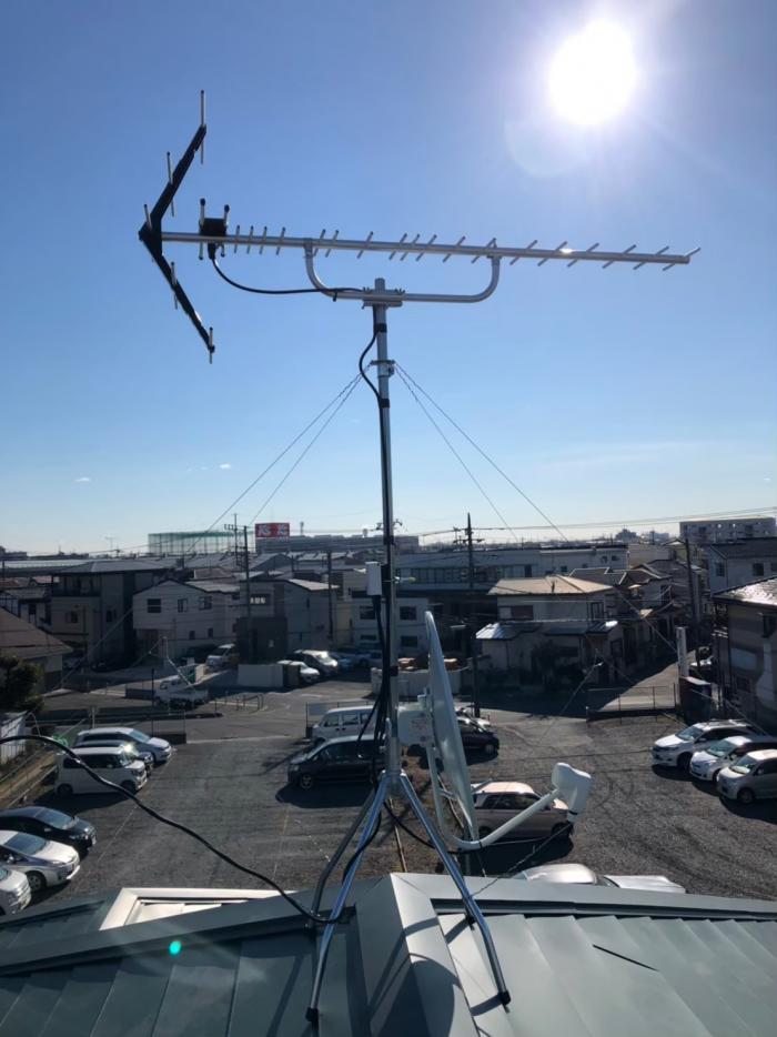 越谷市弥十郎|UHFアンテナ+BS/CSアンテナ工事
