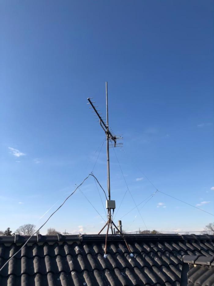 熊谷市万吉|UHFアンテナ立て直し工事