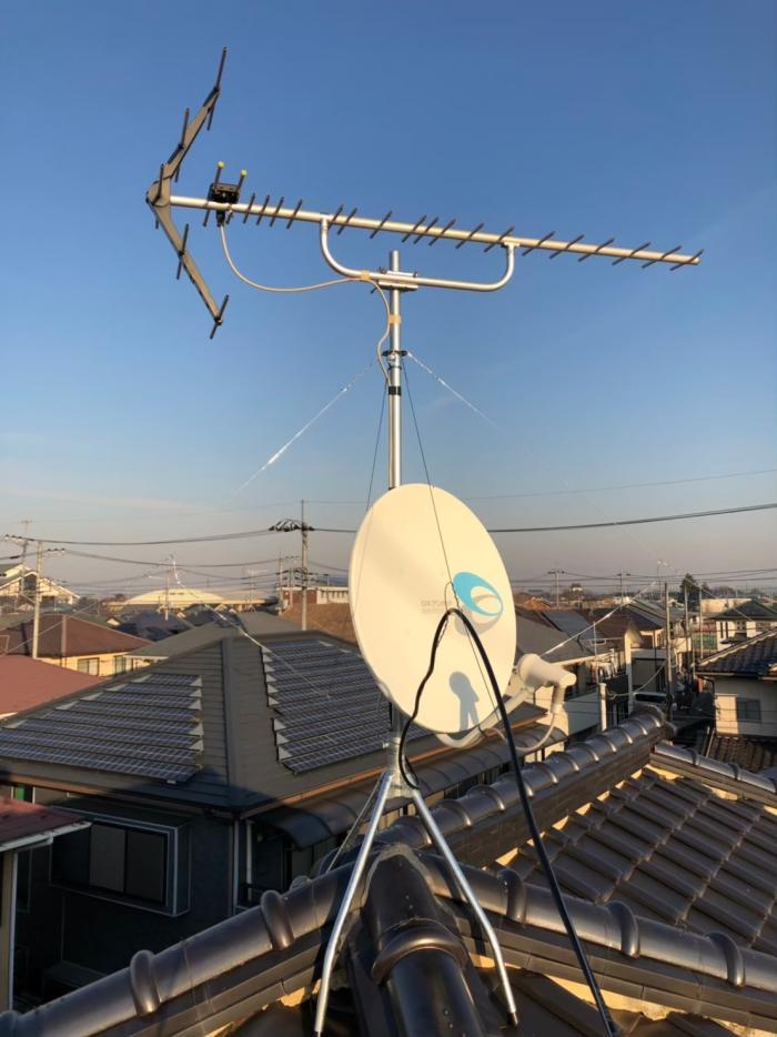 加須市騎西|UHFアンテナ立て直し+BSアンテナ調整工事