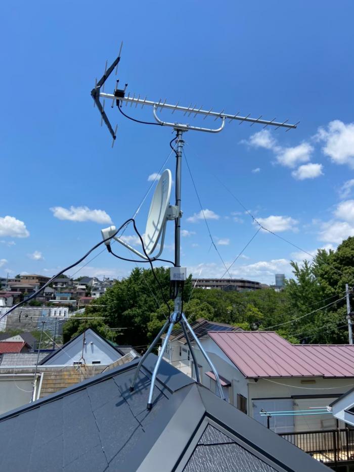 横浜市港北区篠原西町|UHFアンテナ+BS/CSアンテナ工事