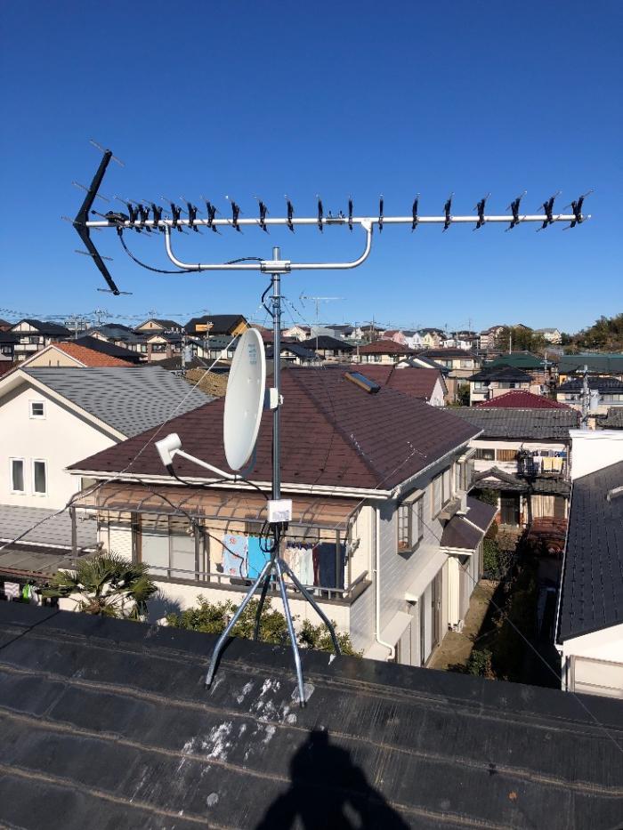 横浜市都筑区荏田南 UHFアンテナ+BS/CSアンテナ工事