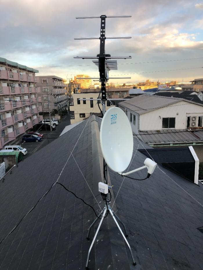和光市白子 UHFアンテナ+BS/CSアンテナ工事