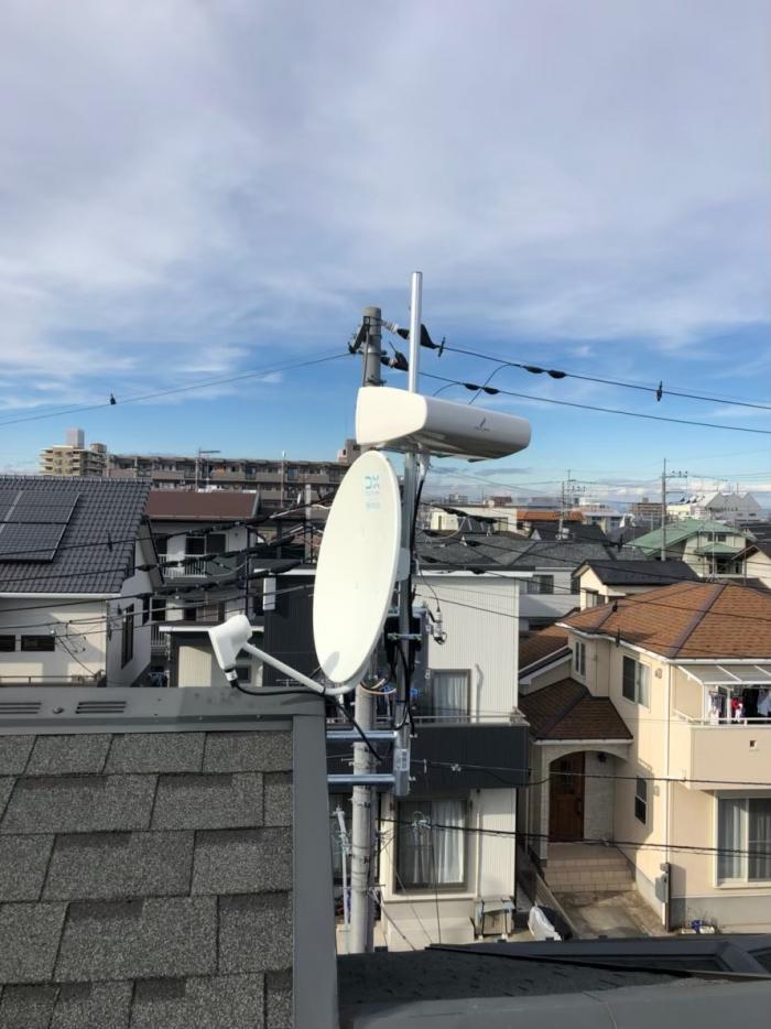狭山市富士見 横型デザインアンテナ+BS/CSアンテナ工事