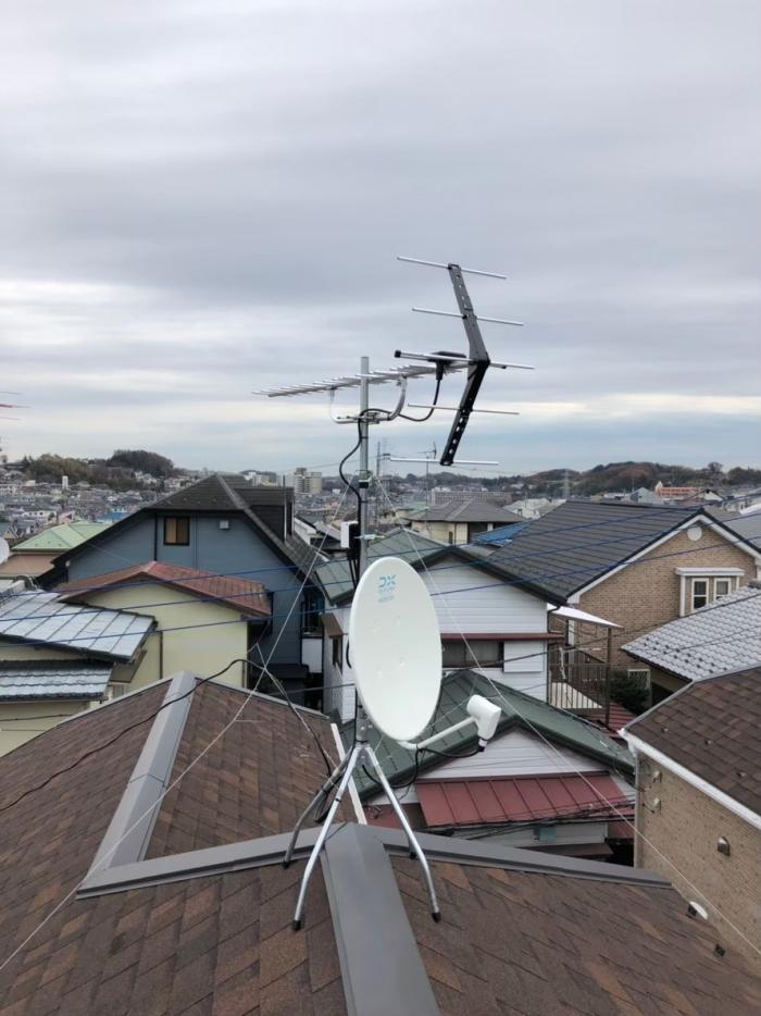町田市大蔵町|UHFアンテナ+BS/CSアンテナ工事