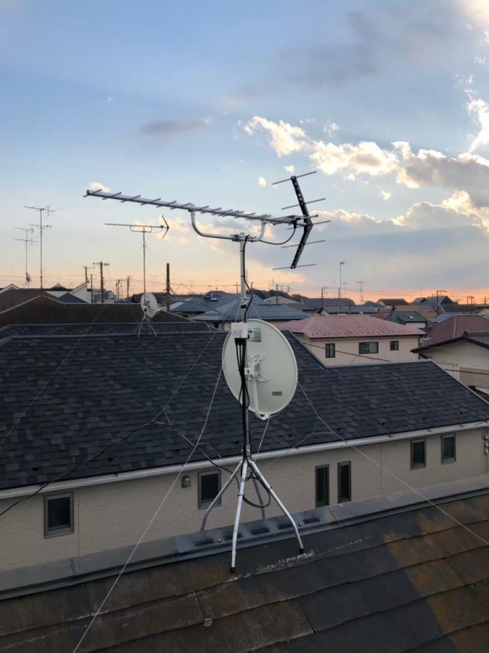座間市緑丘|UHFアンテナ+BS/CSアンテナ工事