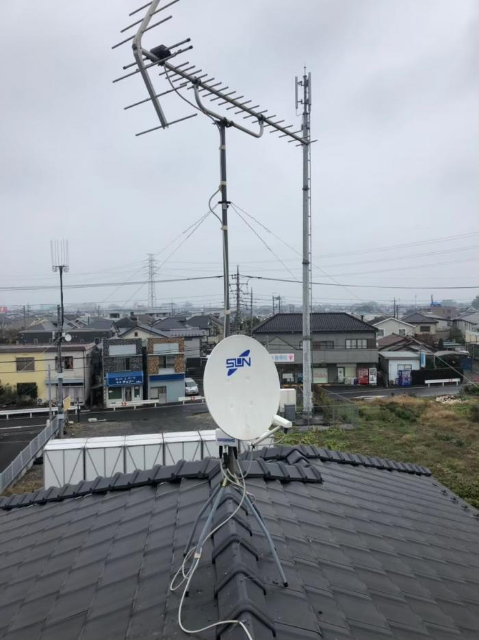所沢市上安松|BSアンテナ調整工事+アンテナ支線補強工事