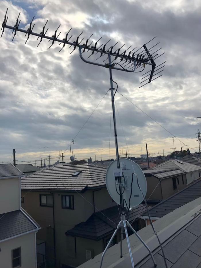町田市根岸|高性能UHFアンテナ+BS/CSアンテナ工事
