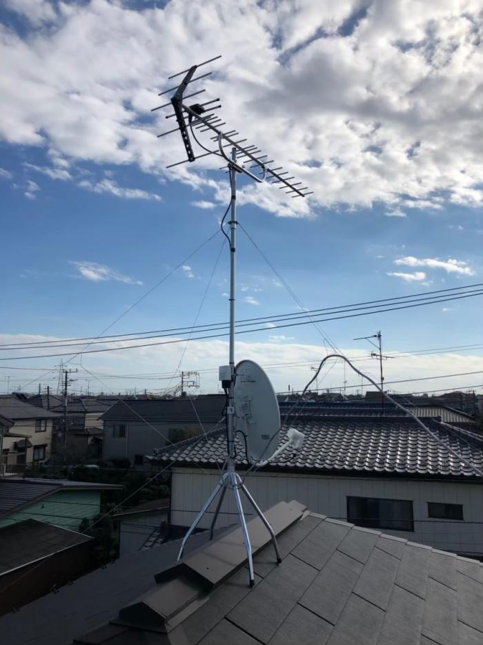鎌ヶ谷市中央|UHFアンテナ+BS/CSアンテナ工事