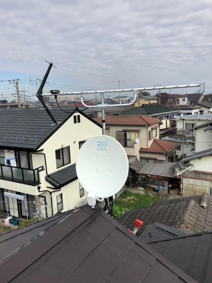 富士見市羽沢|UHFアンテナ+BS/CSアンテナ工事