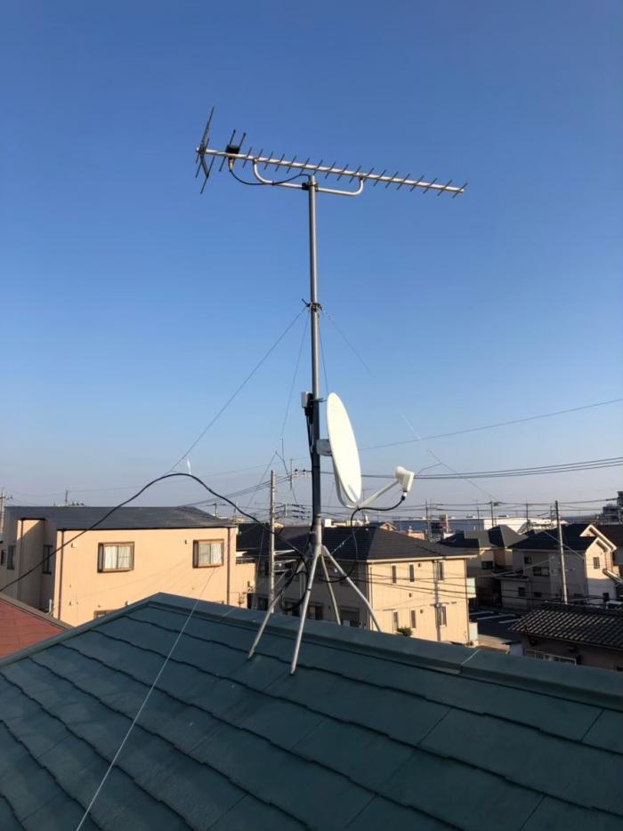 草加市青柳 BS/CSアンテナ追加工事