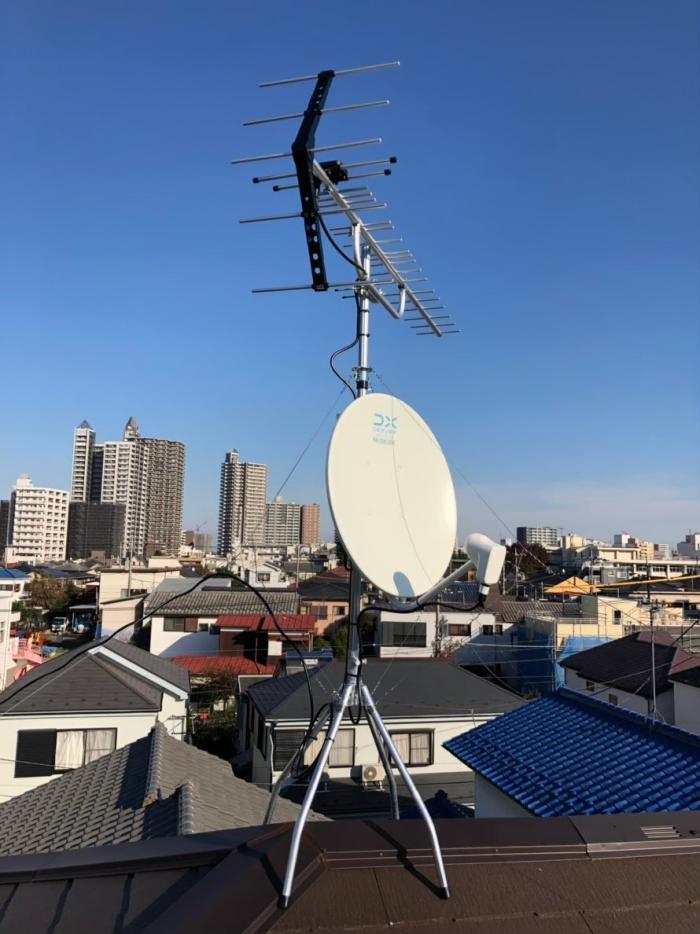 所沢市金山町|UHFアンテナ+BS/CSアンテナ工事