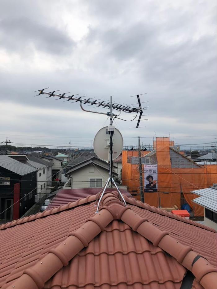 狭山市水野 高性能UHFアンテナ+BS/CSアンテナ工事