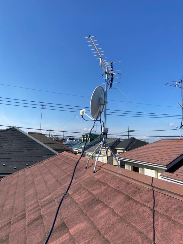 小平市学園西町|UHFアンテナ+BS/CSアンテナ工事